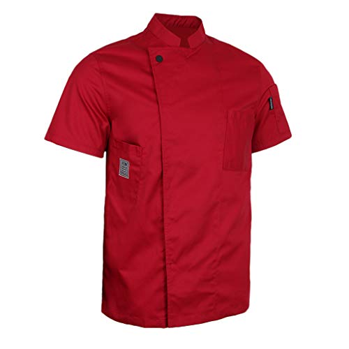 Baoblaze cappotto cameriere manica corta cuoco abbigliamento da uomo donne chef - rosso, l