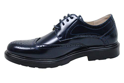 Evoga scarpe francesine uomo class vernice man's shoes casual eleganti (42, blu)