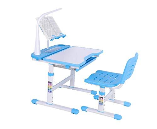 Verstellbare Height Chlilys Kids Study Deluxe Functional School Desk und komfortables Chair Set, Tischblau für Junior Girls Boys mit Lampe und Bookstand