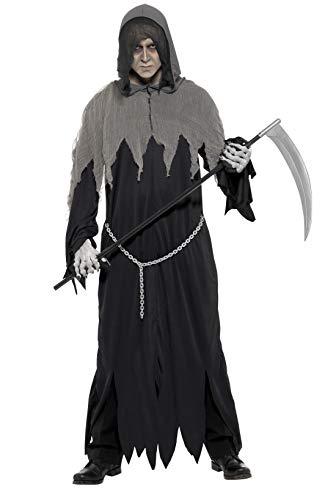 Smiffys Herren Sensenmann Kostüm, Robe mit Kette und Kapuze, Größe: M, 32198