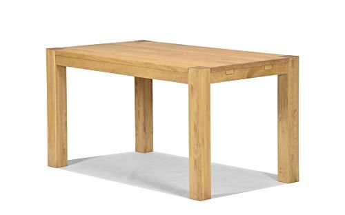 Massivholz Tisch (Esstisch ,,Rio Bonito,, 140x80 cm, Pinie Massivholz, geölt und gewachst, Holz Tisch für Esszimmer, Wohnzimmer Küche, Farbton Honig hell, Optional: passende Bänke und Ansteckplatten)