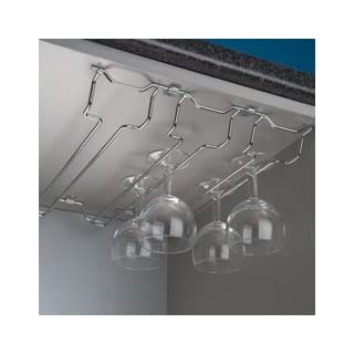 Wine glass rack holder - for under kitchen cabinets - ideal space saver - 4 ROWS, AMPLE STORAGE SOLUTION