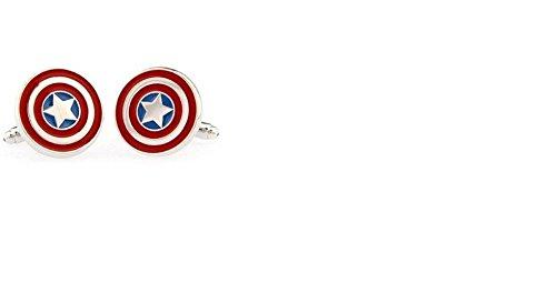 Rhodium Plated Captain America Cufflinks