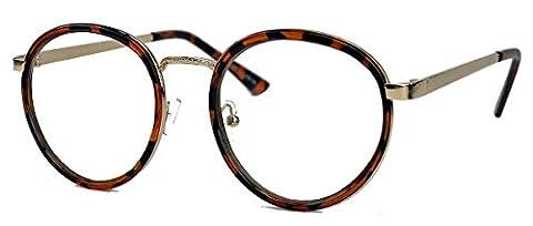 Filigrane Pantobrille Retro Nerd Brille runde Hornbrille Metallrahmen gold LP40 (Tortoise Shell)