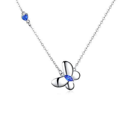 Silber Kette Damen Schmetterling Kette Halskette Blaue Kristall Schmetterling Anhänger Kinder Mädchen Kette Schmuck Geschenke für Frauen (Schmetterling Halskette Für Mädchen)