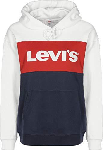 Levis Damen Hoodie Colorblock Sportswear 74315-0001 White Lychee Blue, Größe:M