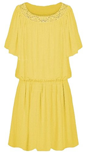 sexylady - Robe - Pull - Manches Courtes - Femme taille unique Jaune
