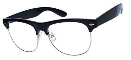 amashades Vintage Classics 50er 60er Jahre Retro Sonnenbrille Nerdbrille Halbrahmen Brillengestell Browline TM2 (Nerdbrille schwarz)
