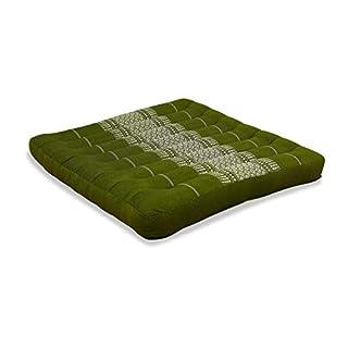 Asia Wohnstudio Kapok Seat Cushion, 50cm x 50cm x 6cm, 100% Organic Kapok Filling, Handmade, Size L (Green)