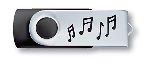 Preisvergleich Produktbild Schlüssel USB 8 Go - Schwarz und Chromstahl - Schwenkbar - Musikanmerkungen - Geschenk Musik