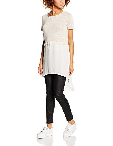 VERO MODA Damen VMJUCA SS Boo Top, Elfenbein (Oatmeal Detail:Melange), 38 (Herstellergröße: M) (Frauen Für Kleidung 21, Forever)