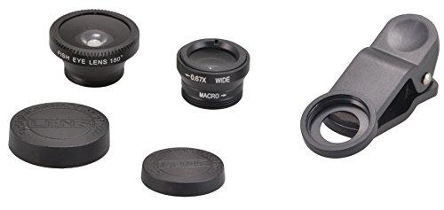 Objektiv Fisheye 3 in 1 Kameraobjektiv 180° Fischauge - Weitwinkel - Makro - Kamera Objektiv Foto Set für iPhone, Samsung, Sony, HTC, LG, etc. Universal - in Schwarz