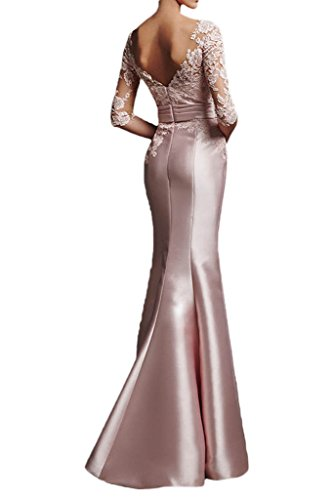 Charmant Damen Glamour Rosa Satin Spitze Langarm Abendkleider Ballkleider Partykleider Meerjungfrau Lang Rosa