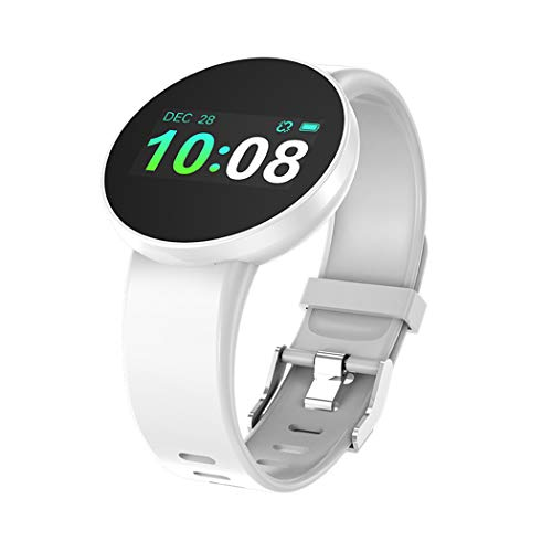 Kisshes Fitness Armbanduhr Tracker Damen Männer Aktivitätstracker mit Kamera Herzfrequenz Schrittzähler Schlafmonitor, IP68 Wasserdicht Smartwatch für Andriod und IOS, Uhr Stoppuhr Pulsmesser (A-Weiß)