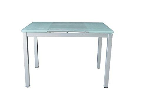 Avanti Trendstore - Esstisch ausziehbar, aus Aluminium mit Glasoberfläche, ca. 110 (170) x76x70 cm