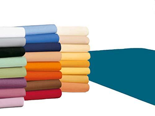 badtex24 Spannbettlaken 90 100 x 200 Spannbetttuch Bettlaken Jersey 100% Baumwolle 24 Farben Petrol 90x190-100x200cm