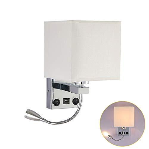 SmartHitech Lámpara de Pared LED para Lectura de Cabecera - 3000K - Luz E27 con Foco de Cuello de Cisne...