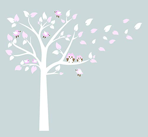 Bdecoll owl on the branch decalcomanie da muro con lettere di insegnamento vinile sticker nursery baby boy monogram kids room (rose)