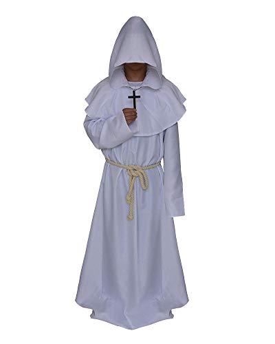 ShiFan Mönch Mittelalterlich Mit Kapuze Renaissance Priester Robe Kostüm Für Halloween Cosplay Weiß S (Priester Kostüm Weiß)