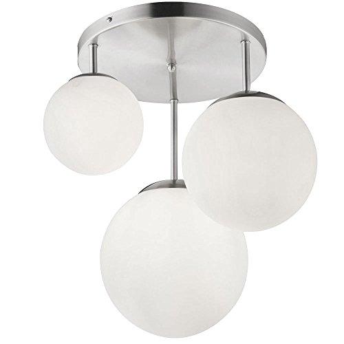 Glas Kugel Leuchte (Luxus Decken Leuchte Wohn Ess Zimmer Beleuchtung Kugel Glas Lampe satiniert 3-flammig Globo 1581-3DR)