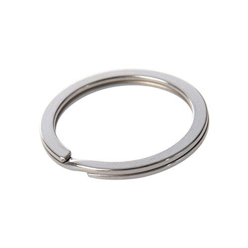 Preisvergleich Produktbild Schlüsselringe 30mm Ø, flach Design, 2,5mm breit, vernickelt | gehärteter Stahl (silber) key ring [15 Stück] | HEAVYTOOL Schlüsselring 30mm