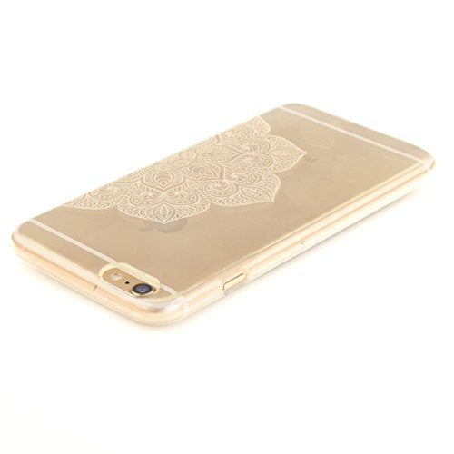 iPhone 6S Plus Hülle, iPhone 6 Plus Hülle, Gift_Source [ Blaue Traumblume ] Hülle Case Transparent Weiche Silikon Schutzhülle Handyhülle Schutzhülle Durchsichtig TPU Crystal Clear Case Backcover Bumpe E1-Weiße halbe Blume