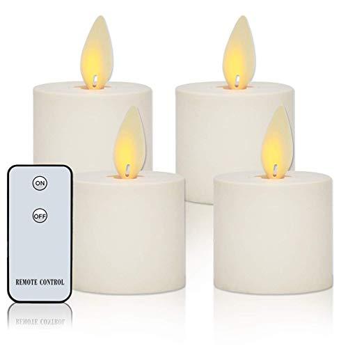 """LED Kerzen, 2""""Set von 4 Flammenlose Kerzen Teelichter mit Timer, Fernbedienung, Batteriebetrieben, Realistischen Flackernden Docht Flamme, für Weihnachtsgeschenk"""