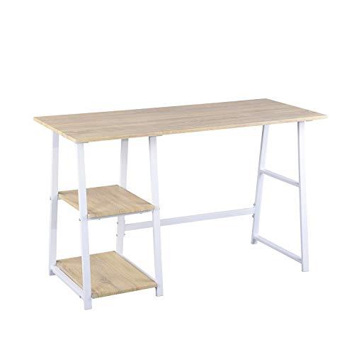 FURNITURE-R France Bureau Tréteau Blanc Couleur Bois Chene Table pour Ordinateur Portable PC étudier Lecture avec 2 étages Ouverts étagères Pieds en métal, 120x50x73cm