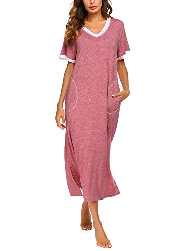 Damen Nachthemd Baumwolle Still Pyjama Lang Weich Frauen Schlafkleid V-Ausschnitt Nachtkleid Sommer,rot meliert, M, 6619_rot -