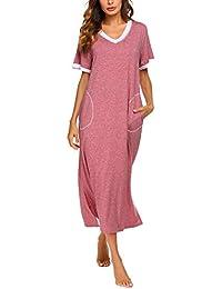 ADOME Nachthemd Damen Lang Pyjama Kurze Ärmel Schlafkleid Nachtwäsche Sleepshirt Kleid V-Ausschnitt für Frauen Schwangere Kurzarm Casual mit Tasche S M L XL XXL