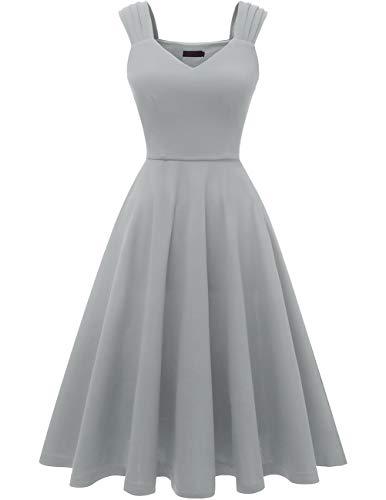 DRESSTELLS 1950's Robe de soirée Cocktail Vintage années 50 col en V sans Manches Longueur mi-Mollet Grey XS