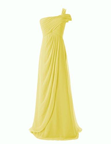 Dresstells, Robe de soirée Robe de cérémonie Robe de demoiselle d'honneur mousseline longue une épaule Jaune