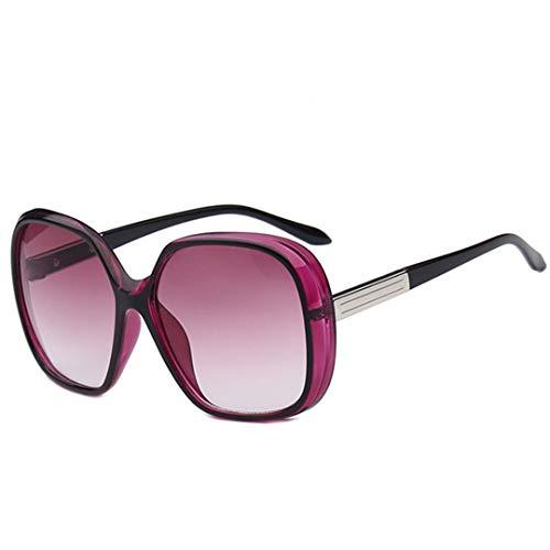 DAIYSNAFDN Rote große Rahmen-Sonnenbrille-Frauen-Verlaufslinse-Reise-Sonnenbrille Uv400 Gafas Purple