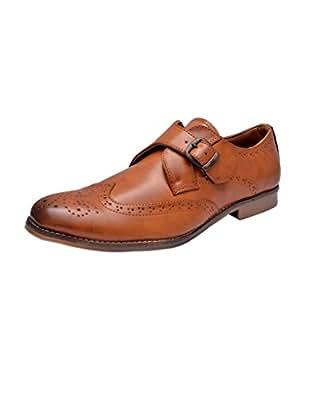 HiREL'S Men Tan Monk Strap Shoes 10