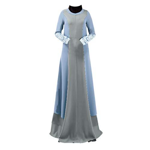 Floweworld Damen Maxi Kleider Muslimischen Vintage Mode Splice Spitze Hülse Langes Maxi Kleid Frauen Arabischen Ramadan Jilbab Abaya Robe - Karte-laptop-hülse