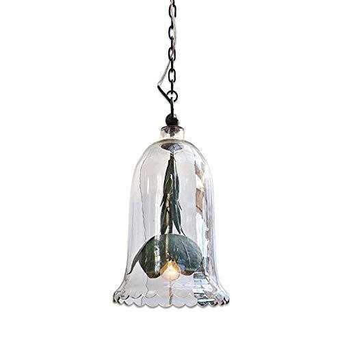 Loberon Hängelampe Donnie, Glas, Eisen, Kunststoff, H/Ø 47/25 cm, klar/dunkelgrün, E14, max. 60 Watt, A++ bis E