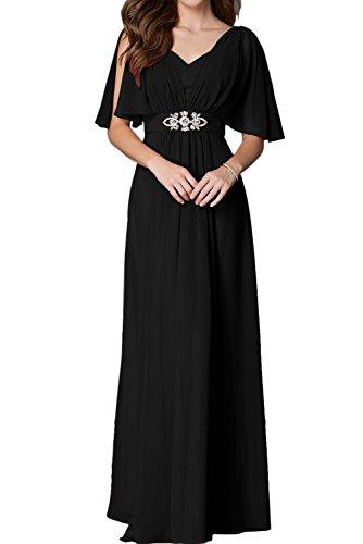 Sunvary Robe de Soiree Longue Robe de Mere de mariee A-ligne en Chiffon Col V Manche Courte Simple Noir