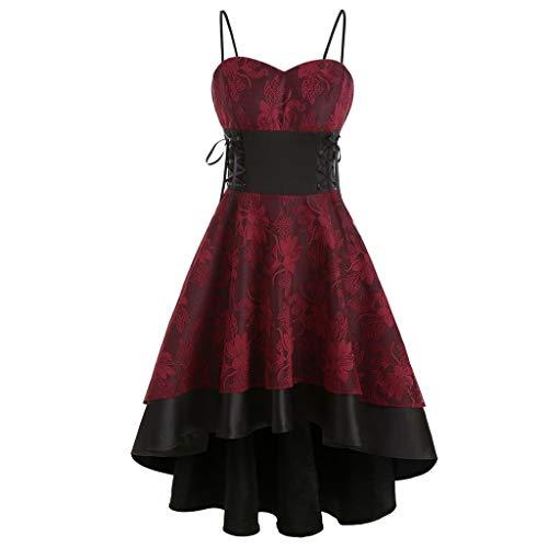 WINLISTING Frauen Vintage High Grade Cami Bandage Schnürung High Low Kleid Partykleid
