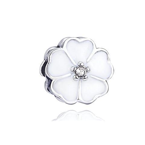 Waya Perles en émail Blanc transparent synthétiques Fleur de Cristal Collier Pendentif breloques argent pour bracelets Bracelet