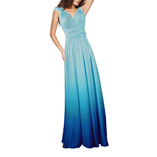 WoWer Damen Abendkleid Gradient Deep V Bandage ÄRmellos Party Maxi Cocktailkleid Sling Bandage Halfter Sexy Elegantes Kleid Rock Partykleid Prom Hochzeit Brautjungfer Kleid Sexy Petticoat Teardrop