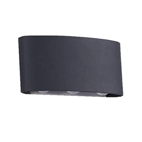 Oevina Mode LED Moderne Außenwandleuchte, wasserdichtes schwarzes Metall bis hinunter Beleuchtung Wandlampe für Garage Park Garden Wandleuchte-warmes Licht (Farbe : Warmes licht, größe : 17x8cm) -