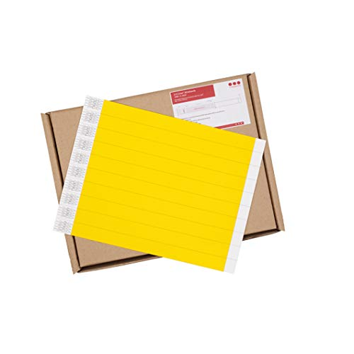 Cintapunto - 1000 pezzi - 3/4' CintaBands Braccialetti Tyvek Cinta, Braccialetti Monouso, Braccialetti Carta (Neon Giallo)