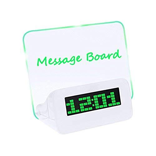 CHUSHENG Multifunktions-LED Digital Mute Wecker Message Board Clock, 4 USB-Anschlüsse Auf Der Rückseite Können An Das Telefon Angeschlossen Werden, Geeignet Für Nacht, Schlafzimmer, Büro,A