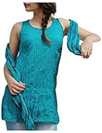 Aller Simplement - Débardeur coton a bretelles larges effet froissé V1 Turquoise