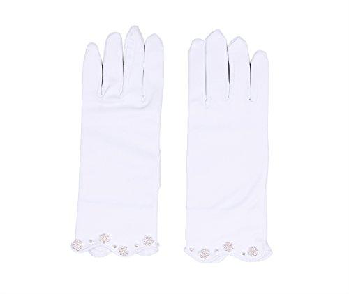 Flora Satin Mädchen kurze Fingered Kommunion Handschuhe, kurz mit Perlen Details