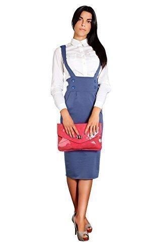 futuro fashion KLASSISCH Viskose Damen Midi Bleistiftrock mit Knöpfen Hosenträger hohe Taille fa37 - Denim, EU 36/38 - S/M - Damen Business-kleidung