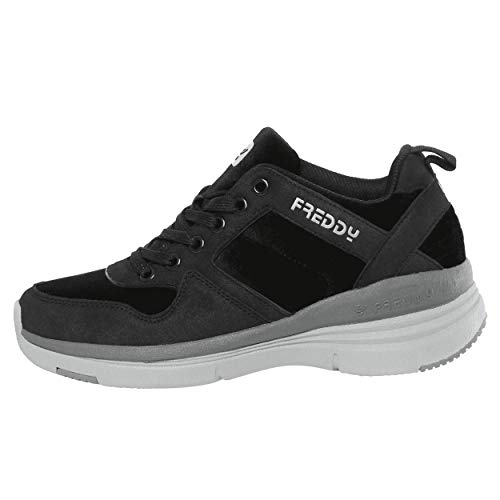 Sneakers con Tacco Interno di 6 cm in Nabuk - Black - 39