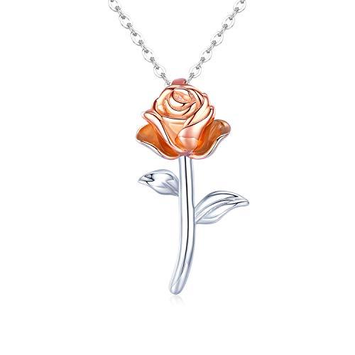 KINGWHYTE Rosegold Kette Damen Halskette 925 Sterling Silber Rose Blumen Anhänger Halskette für...