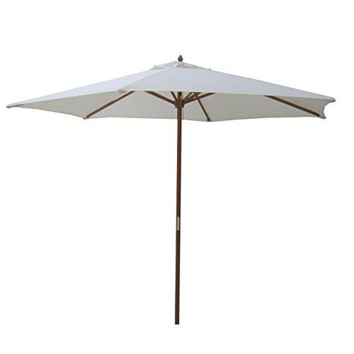 Parasol en bois rond - Arc 2,7m et polyester 160g/m²- Beige