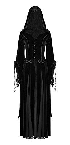 Victorian Samt (Dark Dreams Gothic Steampunk Neo Victorian Punk Rave Samt Mantel Kleid Kapuze Willow M L XL XXL, Größe:M/L)